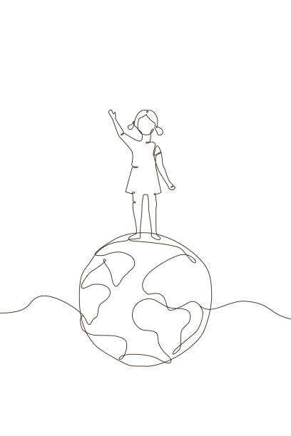 girl standing on a globe - one line design style illustration - single object stock illustrations