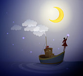 girl standing on the boat and touch the star,