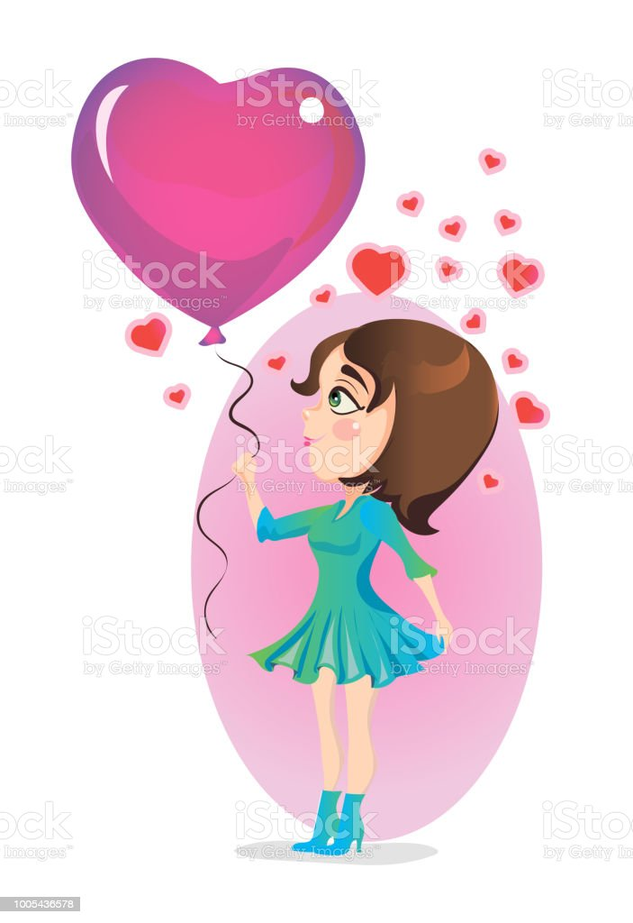Girl standing with balloon in the shape of a heart. Vector illustration. vector art illustration