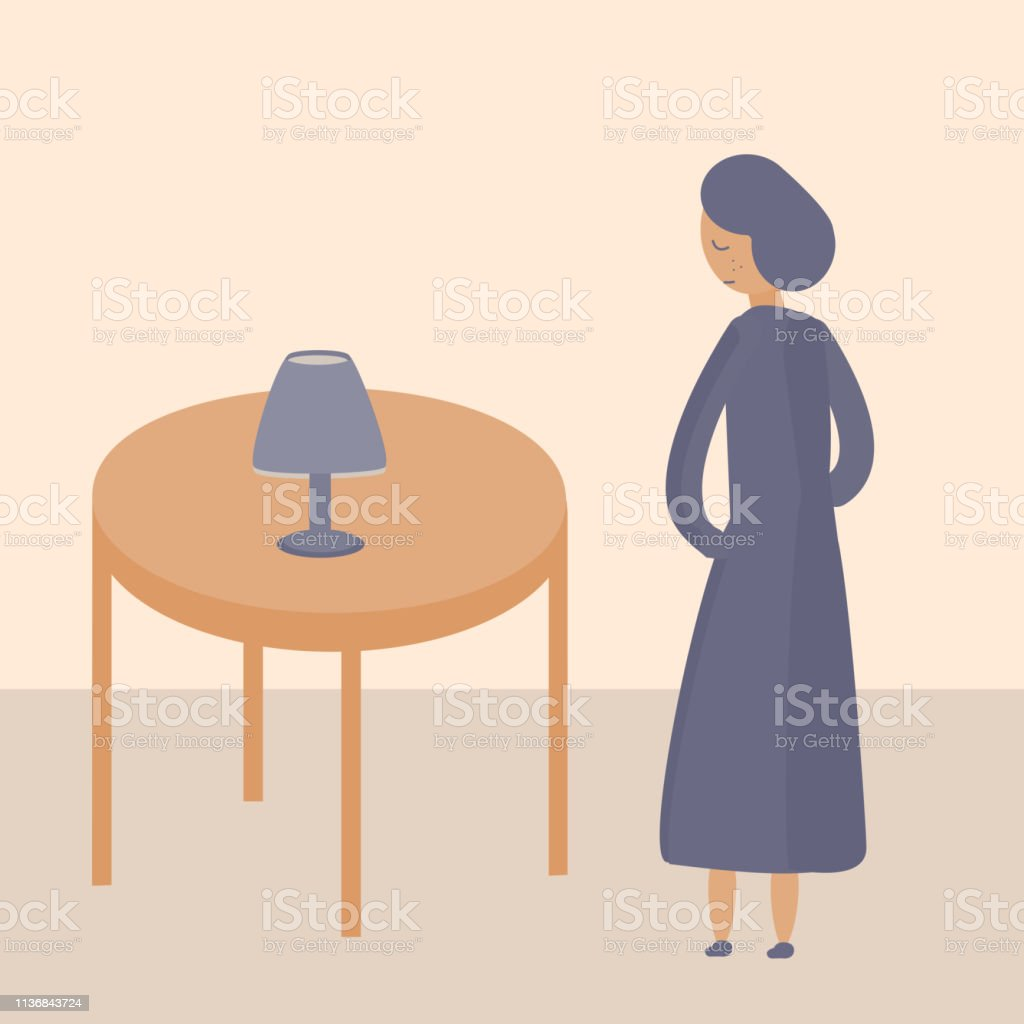 A girl stands at the table with a lamp, emotion, vector illustration