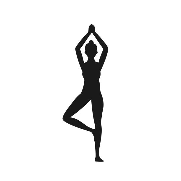 Girl stands in the lotus position. Girl stands in the lotus position. Yoga icon isolated on white background. Vector stock shoulder stand stock illustrations