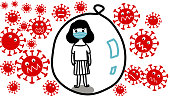 cute hand drawn of one girl is in bubble and wearing face mask  to be safe from all coronavirus around bubble in covid-19 time cartoon vector