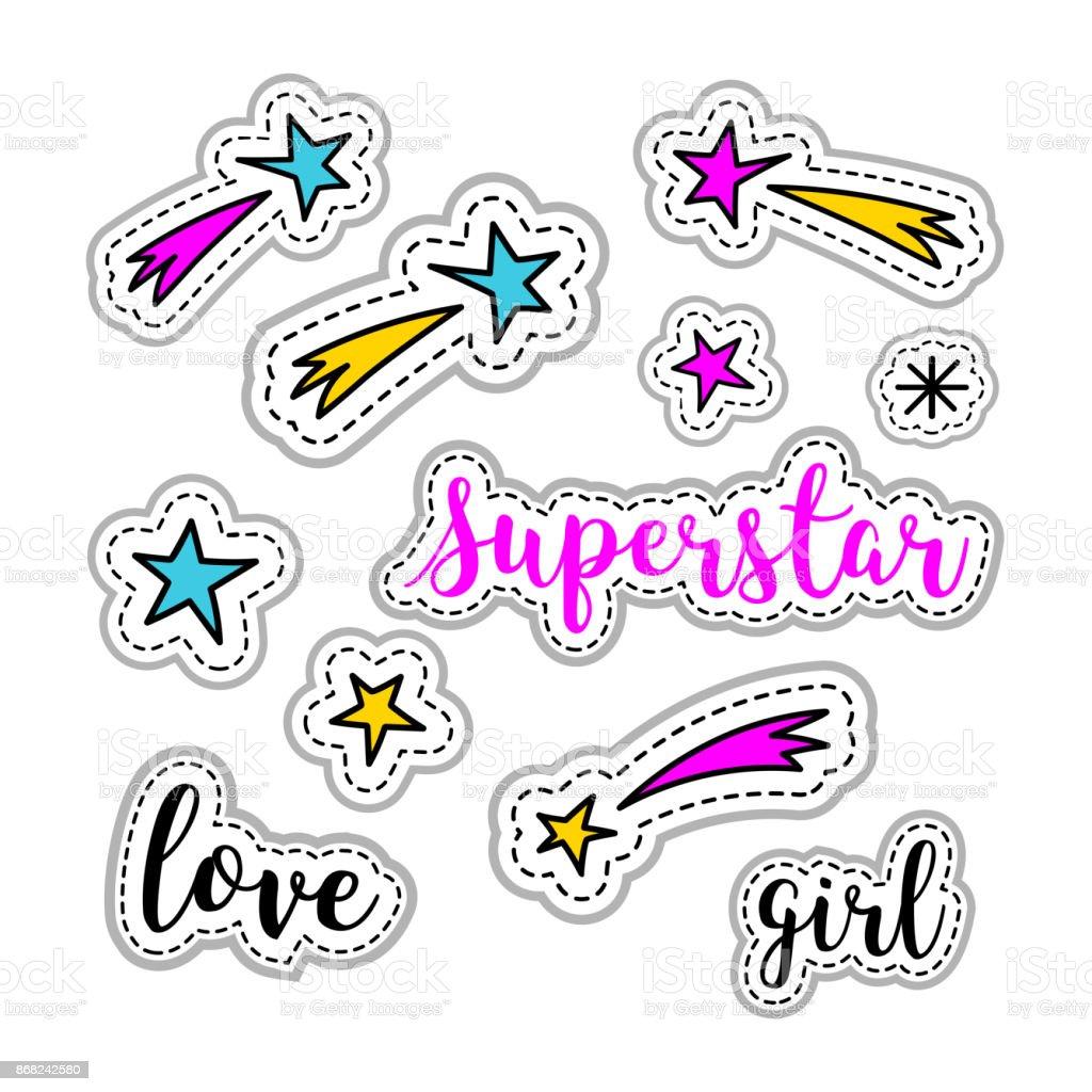 女の子ステッカー 星 花火 スーパー スターのロゴ レタリングが大好き