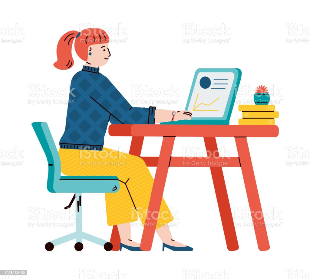 Girl Student Or Teen Gets Online Education Cartoon Vector Illustration Isolated Stock Illustration Download Image Now Istock
