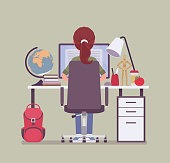 Girl student sitting at desk, rear view. Young pupil doing homework or assignment, teenager preparing for school exams, distance education and online courses, home external study. Vector illustration
