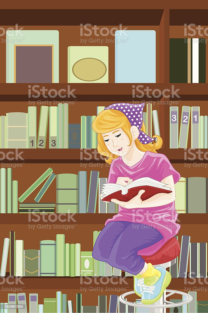 Girl studying in library royalty-free stock vector art