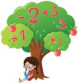Girl studying math under the tree illustration