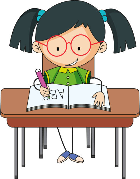a girl studying on desk - alphabet clipart stock illustrations