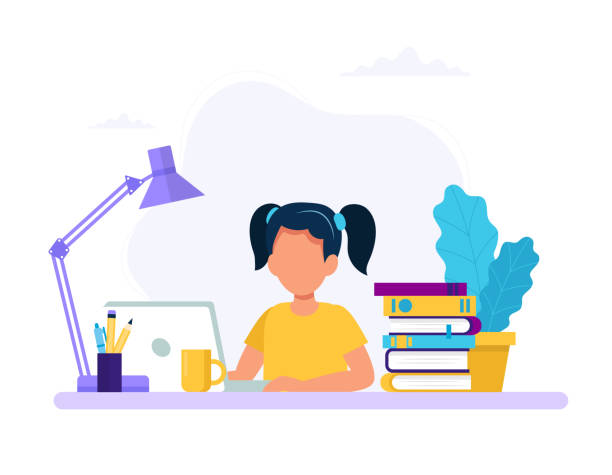 Girl studying with computer and books. Back to school, online education concept vector illustration in flat style vector art illustration