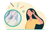 Girl suffering from skin problems. Woman with acne looking in mirror flat vector illustration. Cosmetology, health care concept for banner, website design or landing web page