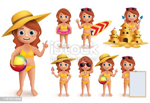 Girl summer kids vector character set. Young girl wearing bikini doing summer beach activities like swimming, eating ice cream and playing sand castle isolated in white. Vector illustration.