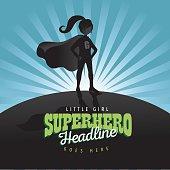 Girl super hero burst background