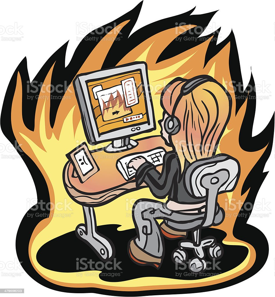 Girl Surfing Internet - Going to Hell royalty-free stock vector art