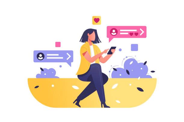 mädchen surfen internet auf modernem smartphone - frau handy stock-grafiken, -clipart, -cartoons und -symbole