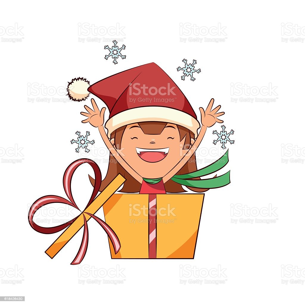 Girl surprise christmas gift royalty-free girl surprise christmas gift stock vector art & more images of adult