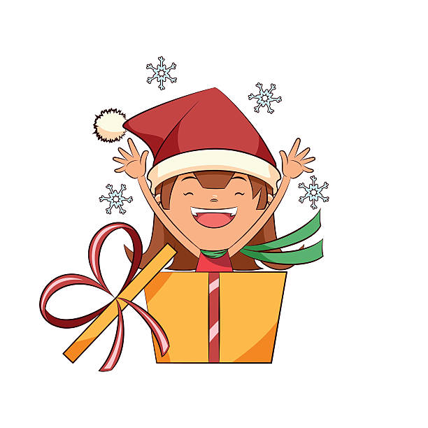 Girl Opening Gift Illustrations, Royalty-Free Vector ...