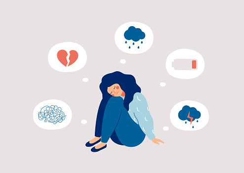 Young woman who suffers from mental health diseases is sitting on the floor. Girl surrounded by symptoms of depression disorder: anxiety, crisis, tears, exhaustion, loss,  overworked, tired. Vector illustration