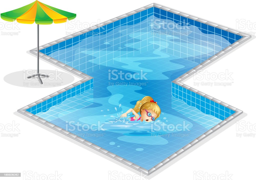 girl swimming at the pool royalty-free stock vector art