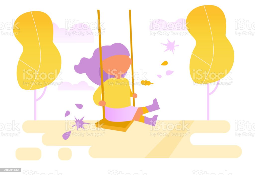 Girl swinging on a swing Vector royalty-free girl swinging on a swing vector stock vector art & more images of agricultural field
