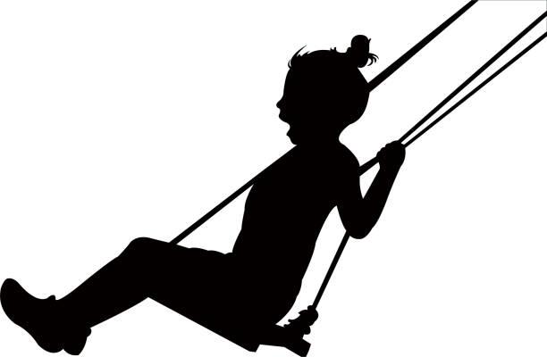 ilustrações de stock, clip art, desenhos animados e ícones de girl swinging silhouette vector - balouço