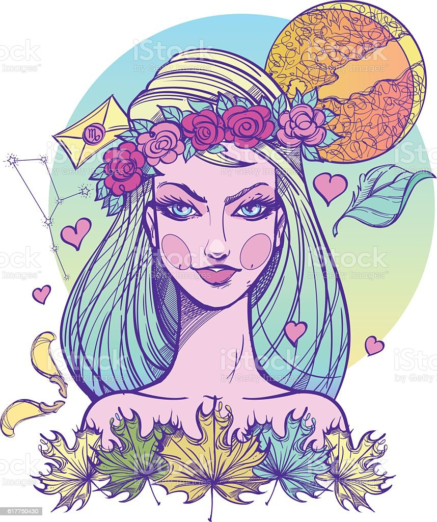 Girl symbolizes the zodiac sign Virgo. Pastel goth portrait. vector art illustration