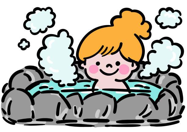 bildbanksillustrationer, clip art samt tecknat material och ikoner med flicka som tar ett utomhusbad - japanese bath woman
