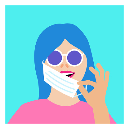 Girl taking off medical protective mask on turquoise background. Colorful portrait of smiling woman with round glasses. Avatar. Minimalist. Vector Flat Illustration