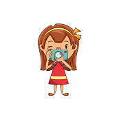 Child taking photo, cute kid, girl, holding camera, make, picture, shot, photography, young woman, person, photographer, cartoon character, vector illustration, isolated, white background