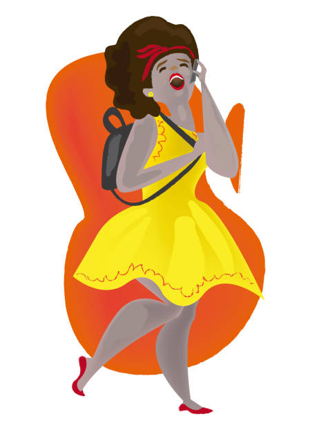 Girl talking on her smatphone Girl chatting excitedly on her mobile phone with a friend wearing a beautiful yellow dress pedreiro stock illustrations
