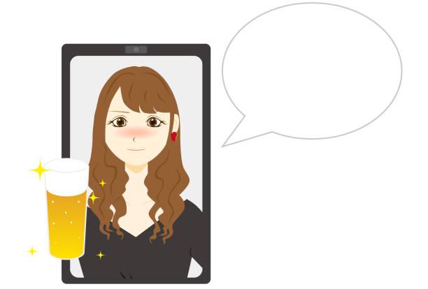 illustrazioni stock, clip art, cartoni animati e icone di tendenza di girl talking online. vector illustration. - woman chat video mobile phone