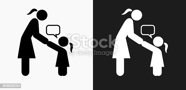 Girl Talking To Mom Icon On Black And White Vector ...