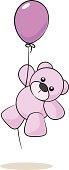Fully editable vector illustration of a girl teddy bear hanging from a balloon.