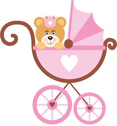 Girl teddy bear on baby carriage