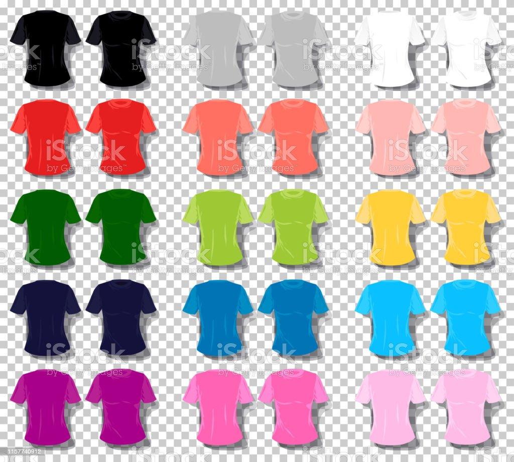 Vetores De Menina Camiseta Vetor Conjunto De Cor Dos Desenhos Animados Mulheres Unisex Tshirt Colecao Basica Do Vetor Da Cor Multi E Mais Imagens De Acessorio Istock