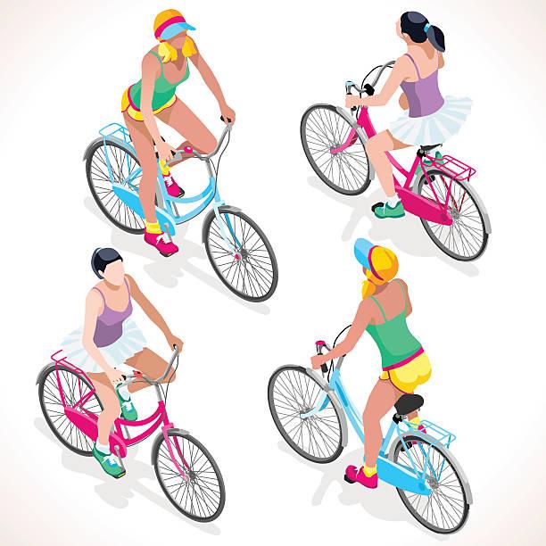 Girl Teen Cycling Isometric People vector art illustration