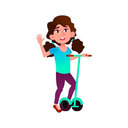girl teen riding segway on road cartoon vector