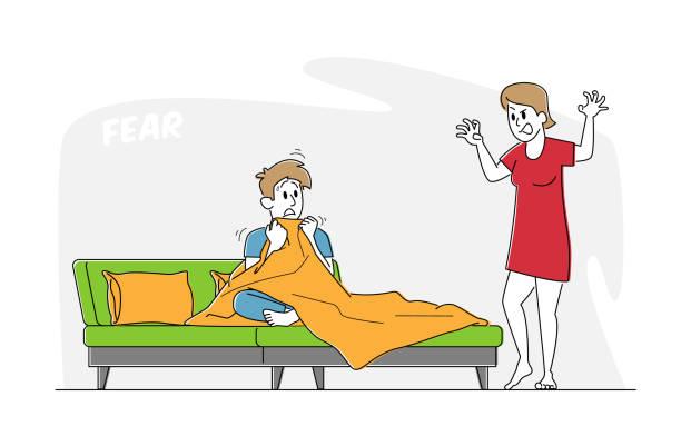 毛布の下に隠れてベッドに座っている恐ろしい男に怖い物語を伝える女の子。不気味なおとぎ話の恐怖を感じる男 - シングルマザー点のイラスト素材/クリップアート素材/マンガ素材/アイコン素材