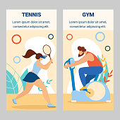Girl Tennis Player Beat Ball with Racket. Man Riding Exercise Bike in Gym Woman Training, Preparing for Competition Summer Sports Activity. Cartoon Flat Vector Illustration, Vertical Banners Set.