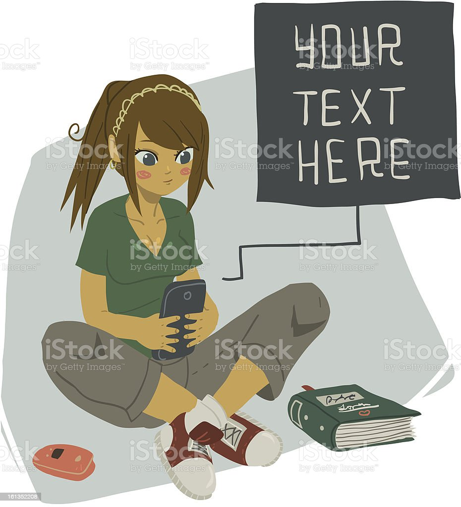Girl Texting on Her Mobile Phone vector art illustration