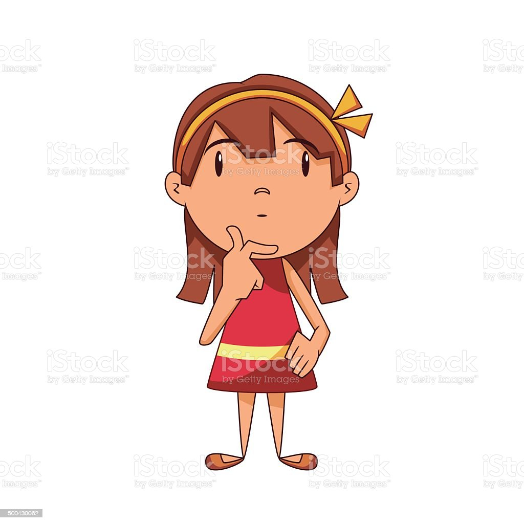 Girl Thinking Stock Vector Art & More Images Of 2015