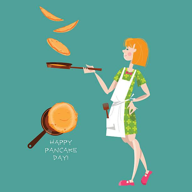 bildbanksillustrationer, clip art samt tecknat material och ikoner med girl tosses pancakes on a frying pan. happy pancake day! - crepe