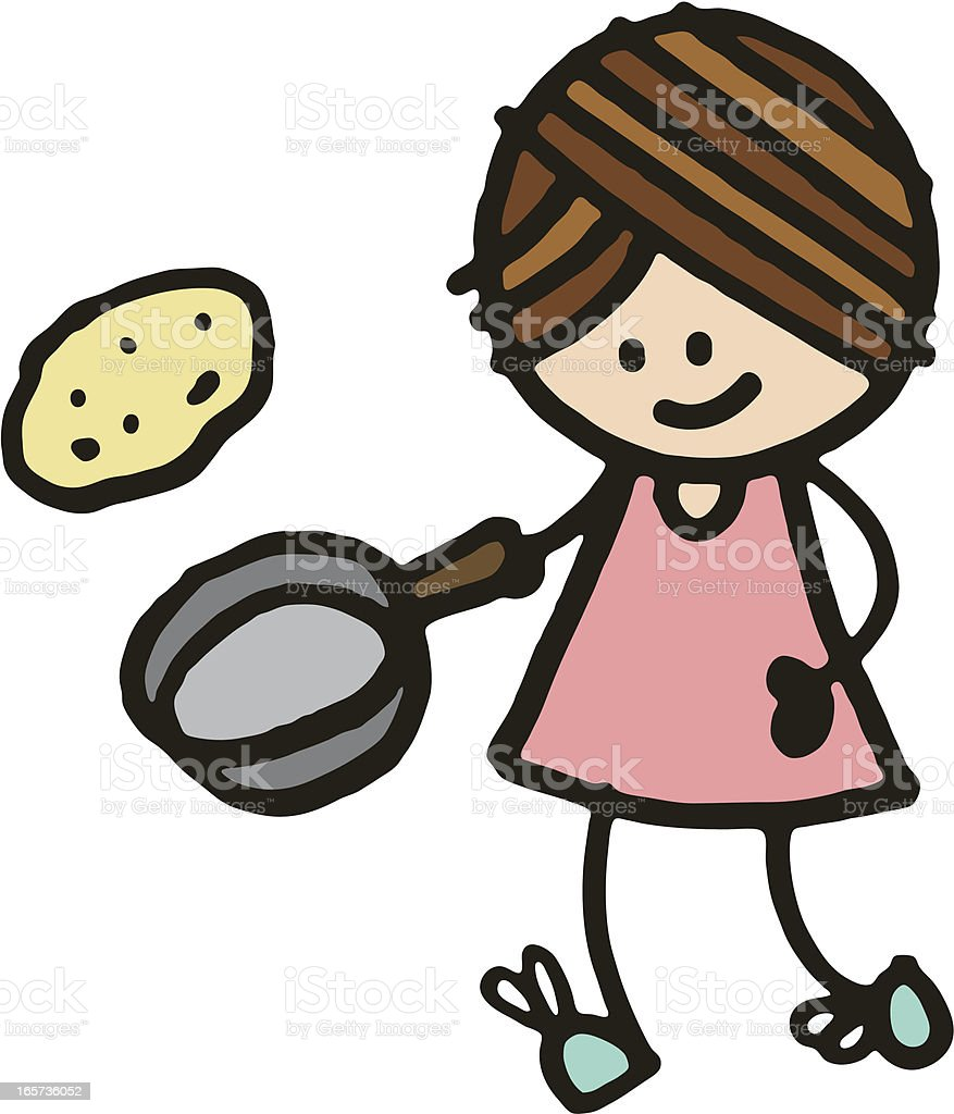 Girl tossing pancake royalty-free stock vector art