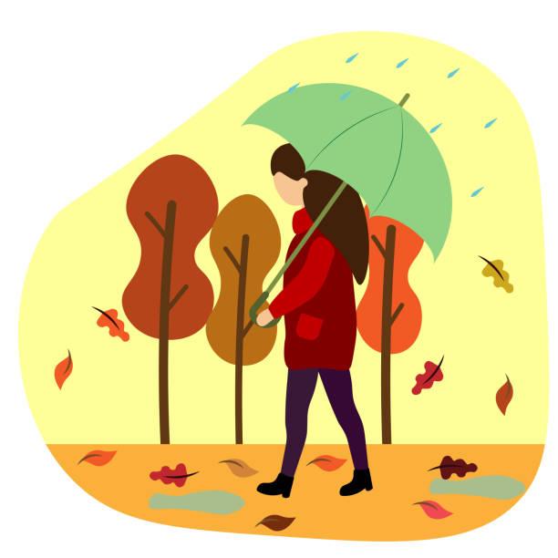 illustrazioni stock, clip art, cartoni animati e icone di tendenza di girl under an umbrella in the autumn park - mockup outdoor rain