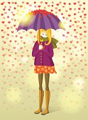 Girl under rain of hearts