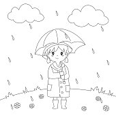 Girl Under The Rain Coloring Page Vector Design