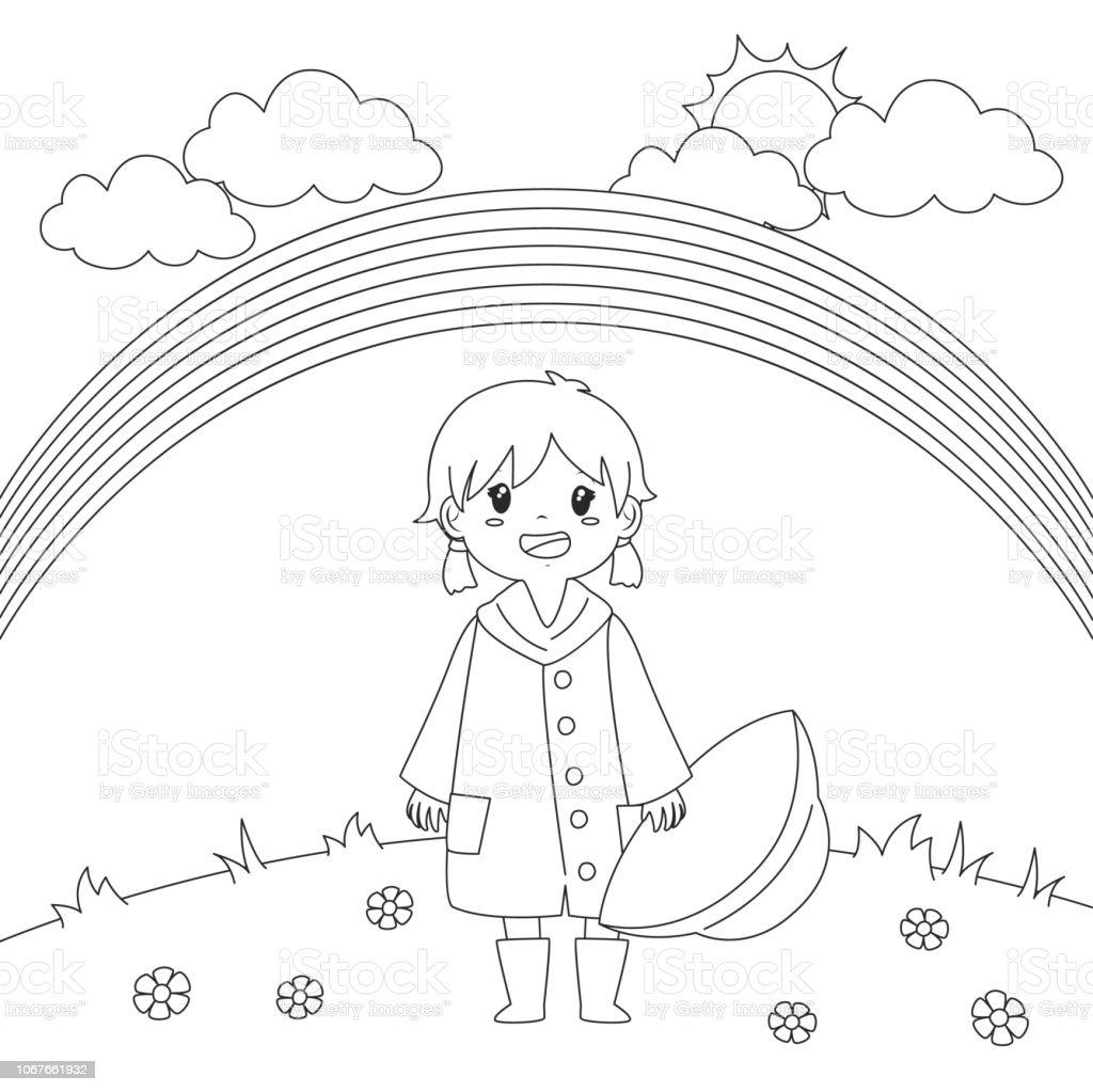 Coloriage Paysage Arc En Ciel.Fille Sous Larcenciel Coloriage Page Vector Design Vecteurs Libres