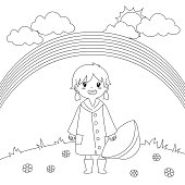 Girl Under The Rainbow Coloring Page Vector Design