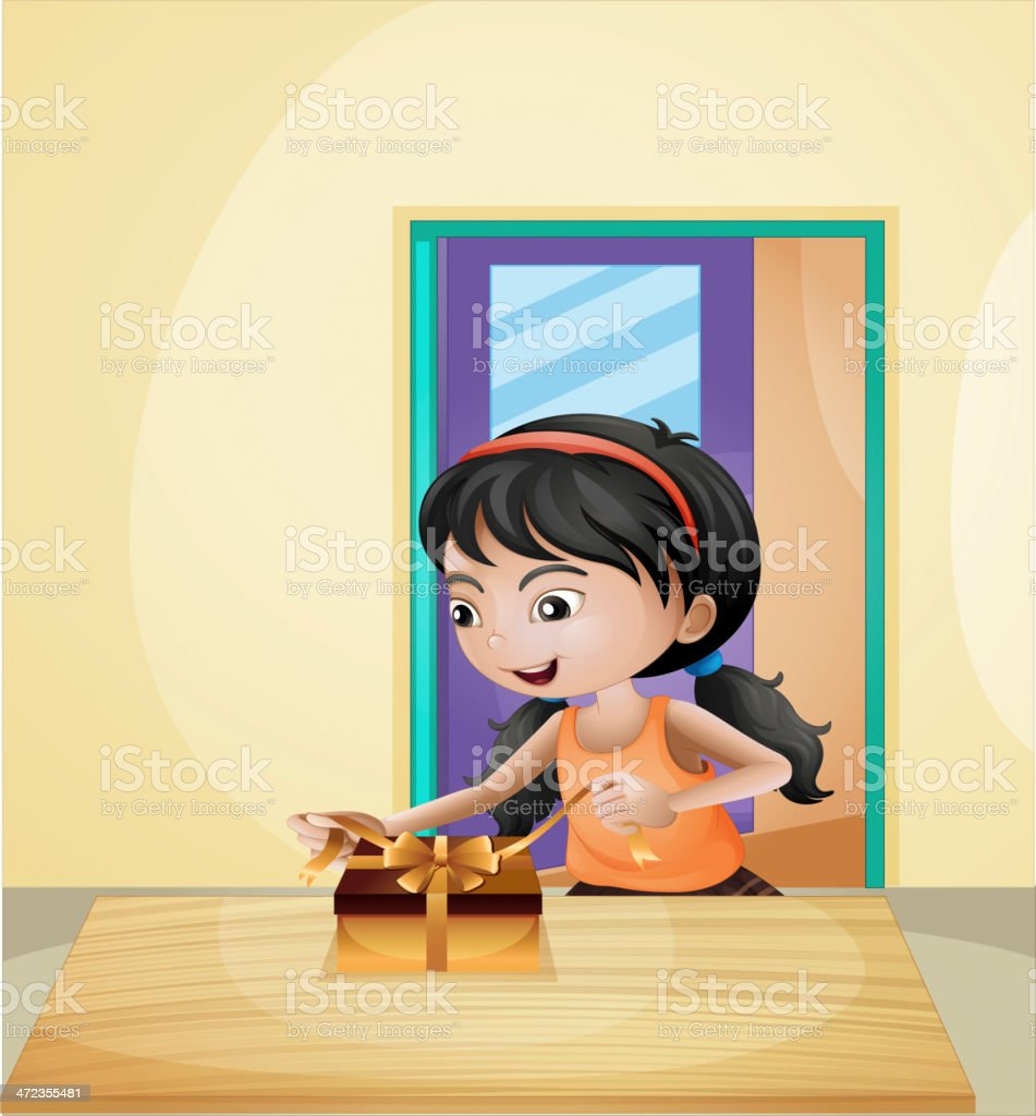 girl unwrapping a gift royalty-free stock vector art
