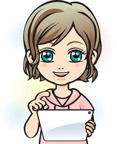 Girl using tablet
