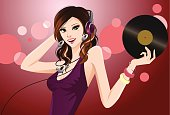 Vector File of Dj Girl Holding Platter